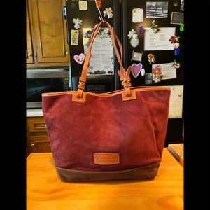 D&B Maroon Brown Suede Leather Tote Shoulderbag